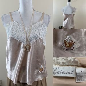 Cabernet Top Satin Lace Upcycled Camisole